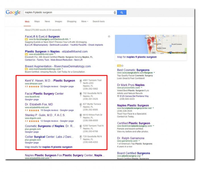 Google Places - Plastic Surgeons